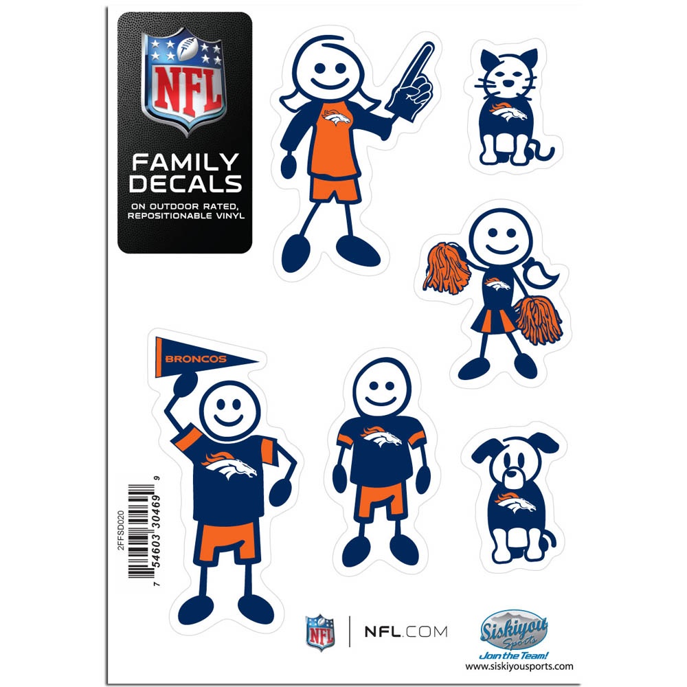 Denver Broncos Family Decal Set Small - Show off your team pride with our Denver Broncos family automotive decals. The set includes 6 individual family themed decals that each feature the team logo. The 5 x 7 inch decal set is made of outdoor rated, repositionable vinyl for durability and easy application.