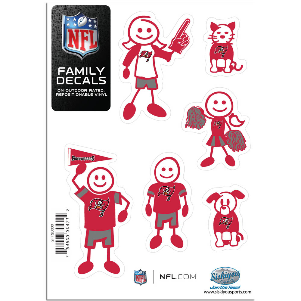 Tampa Bay Buccaneers Family Decal Set Small - Show off your team pride with our Tampa Bay Buccaneers family automotive decals. The set includes 6 individual family themed decals that each feature the team logo. The 5 x 7 inch decal set is made of outdoor rated, repositionable vinyl for durability and easy application.