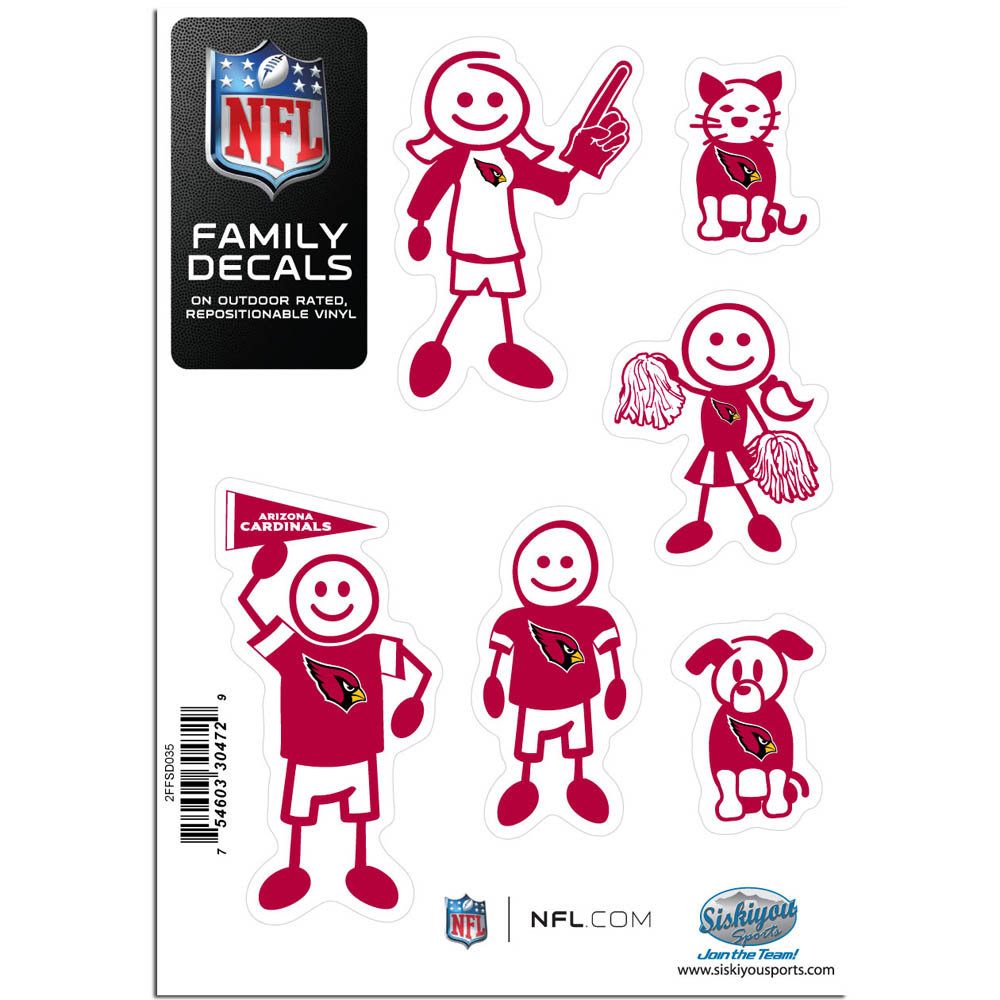 Arizona Cardinals Family Decal Set Small - Show off your team pride with our Arizona Cardinals family automotive decals. The set includes 6 individual family themed decals that each feature the team logo. The 5 x 7 inch decal set is made of outdoor rated, repositionable vinyl for durability and easy application.