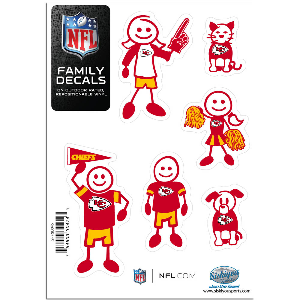 Kansas City Chiefs Family Decal Set Small - Show off your team pride with our Kansas City Chiefs family automotive decals. The set includes 6 individual family themed decals that each feature the team logo. The 5 x 7 inch decal set is made of outdoor rated, repositionable vinyl for durability and easy application.