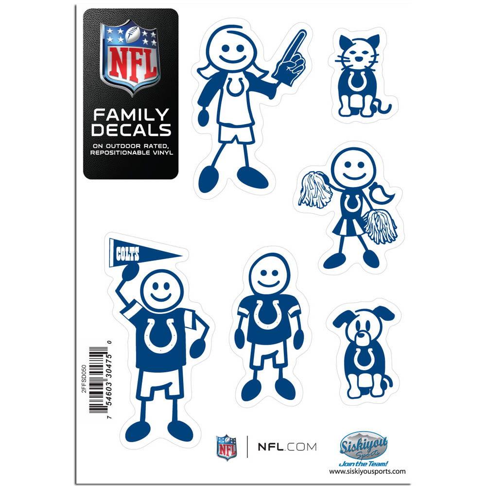Indianapolis Colts Family Decal Set Small - Show off your team pride with our Indianapolis Colts family automotive decals. The set includes 6 individual family themed decals that each feature the team logo. The 5 x 7 inch decal set is made of outdoor rated, repositionable vinyl for durability and easy application.