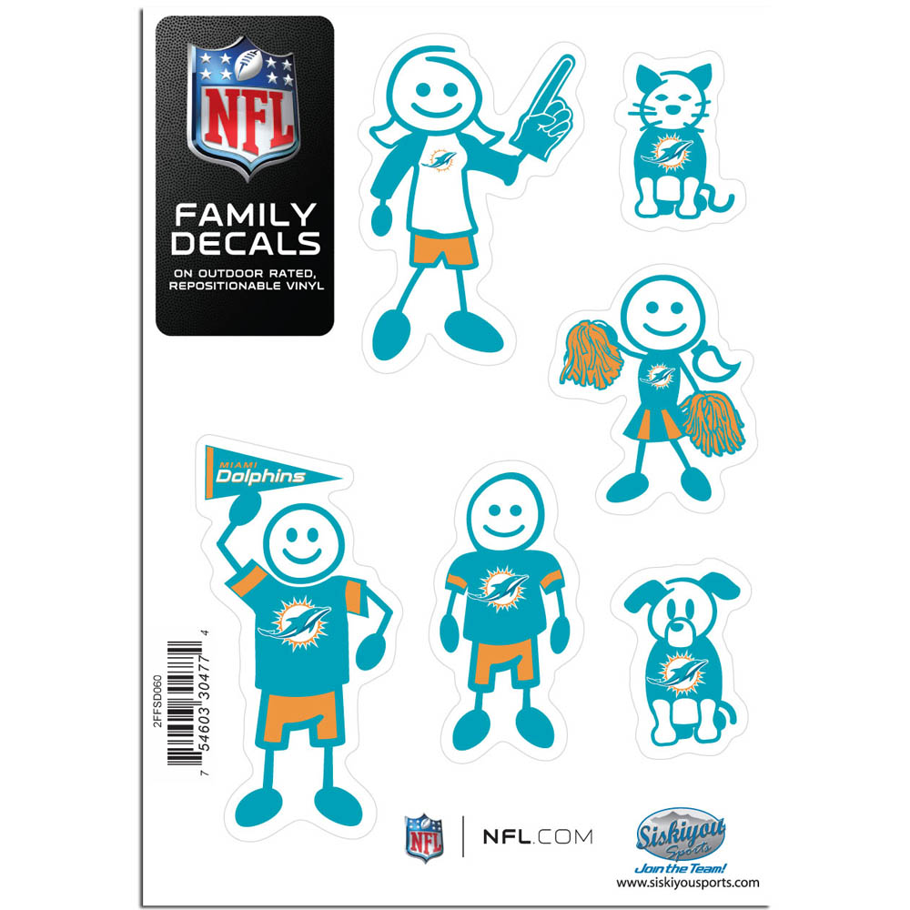Miami Dolphins Family Decal Set Small - Show off your team pride with our Miami Dolphins family automotive decals. The set includes 6 individual family themed decals that each feature the team logo. The 5 x 7 inch decal set is made of outdoor rated, repositionable vinyl for durability and easy application.