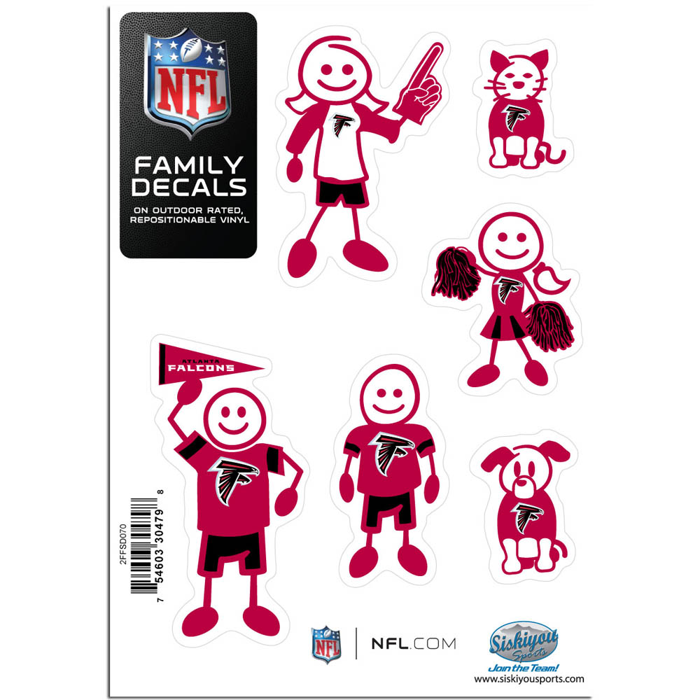 Atlanta Falcons Family Decal Set Small - Show off your team pride with our Atlanta Falcons family automotive decals. The set includes 6 individual family themed decals that each feature the team logo. The 5 x 7 inch decal set is made of outdoor rated, repositionable vinyl for durability and easy application.