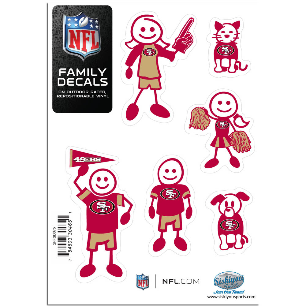 San Francisco 49ers Family Decal Set Small - Show off your team pride with our San Francisco 49ers family automotive decals. The set includes 6 individual family themed decals that each feature the team logo. The 5 x 7 inch decal set is made of outdoor rated, repositionable vinyl for durability and easy application.