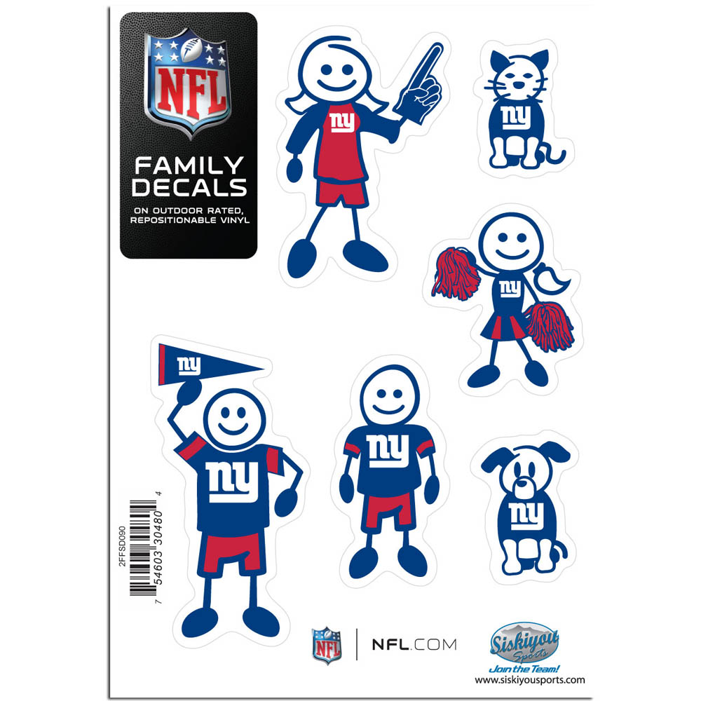New York Giants Family Decal Set Small - Show off your team pride with our New York Giants family automotive decals. The set includes 6 individual family themed decals that each feature the team logo. The 5 x 7 inch decal set is made of outdoor rated, repositionable vinyl for durability and easy application.