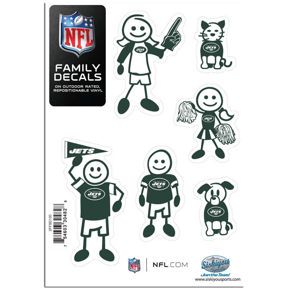 New York Jets Family Decal Set Small - Show off your team pride with our New York Jets family automotive decals. The set includes 6 individual family themed decals that each feature the team logo. The 5 x 7 inch decal set is made of outdoor rated, repositionable vinyl for durability and easy application.