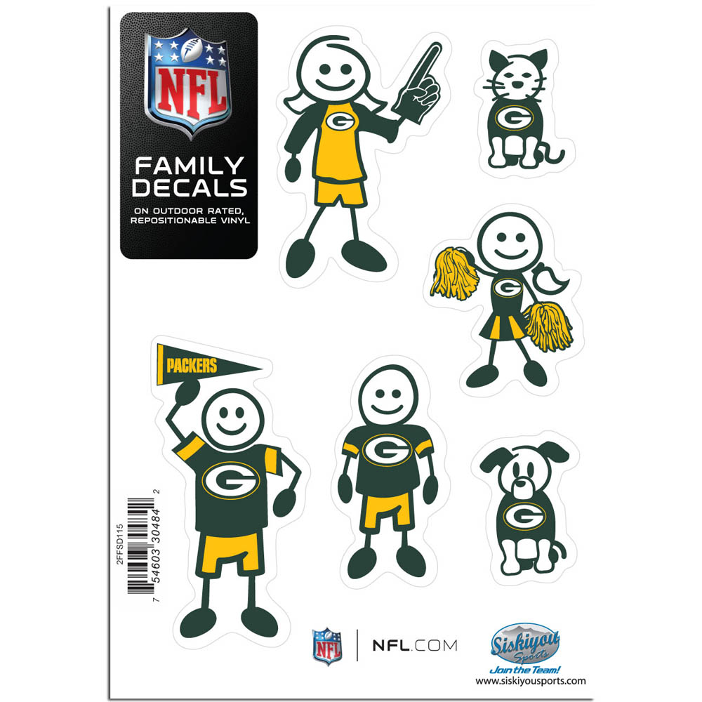 Green Bay Packers Family Decal Set Small - Show off your team pride with our Green Bay Packers family automotive decals. The set includes 6 individual family themed decals that each feature the team logo. The 5 x 7 inch decal set is made of outdoor rated, repositionable vinyl for durability and easy application.