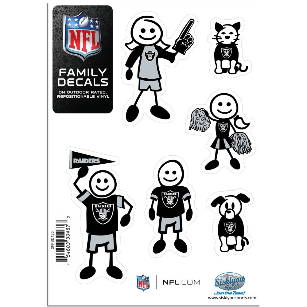 Oakland Raiders Family Decal Set Small - Show off your team pride with our Oakland Raiders family automotive decals. The set includes 6 individual family themed decals that each feature the team logo. The 5 x 7 inch decal set is made of outdoor rated, repositionable vinyl for durability and easy application.