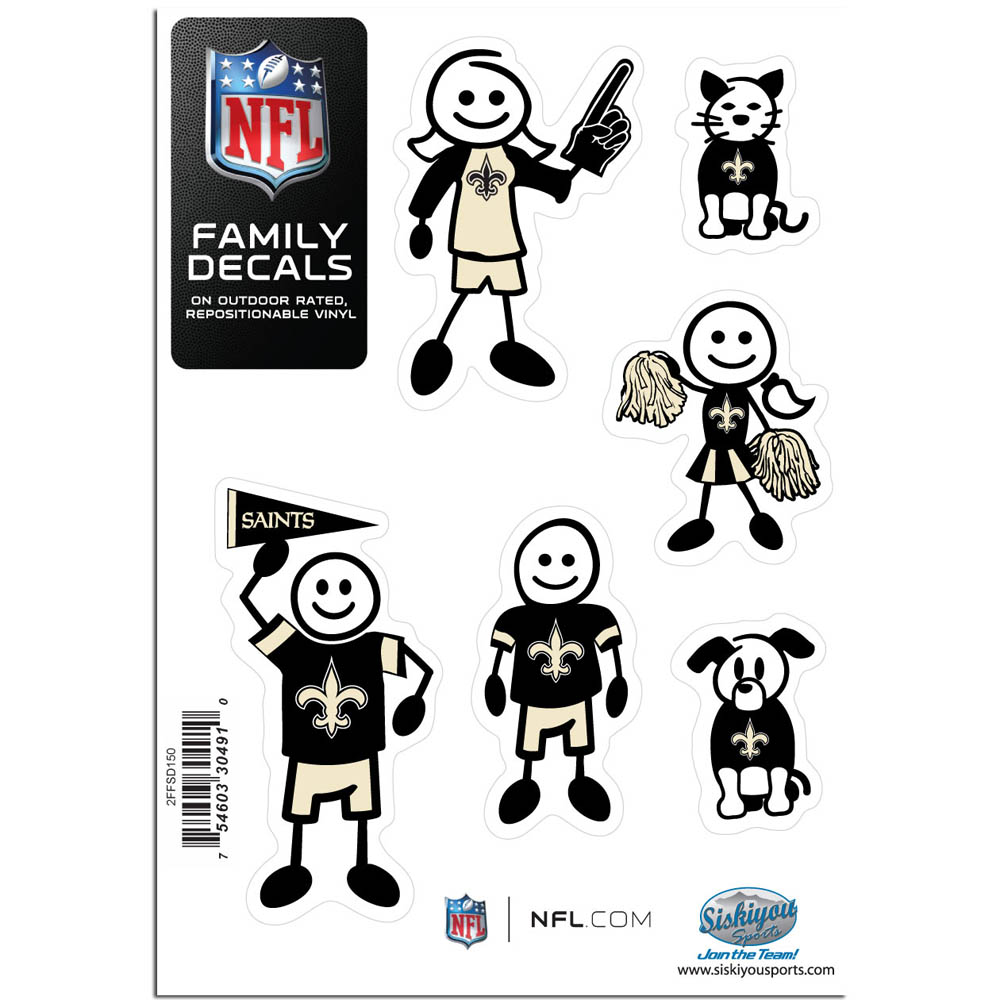 New Orleans Saints Family Decal Set Small - Show off your team pride with our New Orleans Saints family automotive decals. The set includes 6 individual family themed decals that each feature the team logo. The 5 x 7 inch decal set is made of outdoor rated, repositionable vinyl for durability and easy application.