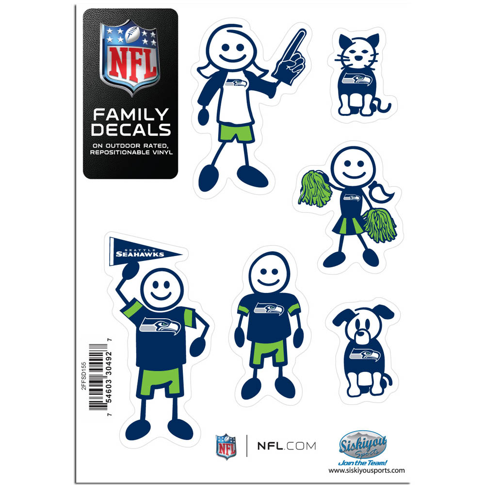 Seattle Seahawks Family Decal Set Small - Show off your team pride with our Seattle Seahawks family automotive decals. The set includes 6 individual family themed decals that each feature the team logo. The 5 x 7 inch decal set is made of outdoor rated, repositionable vinyl for durability and easy application.
