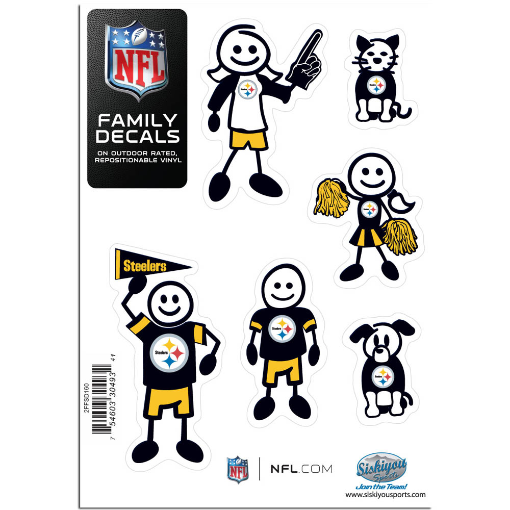 Pittsburgh Steelers Family Decal Set Small - Show off your team pride with our Pittsburgh Steelers family automotive decals. The set includes 6 individual family themed decals that each feature the team logo. The 5 x 7 inch decal set is made of outdoor rated, repositionable vinyl for durability and easy application.