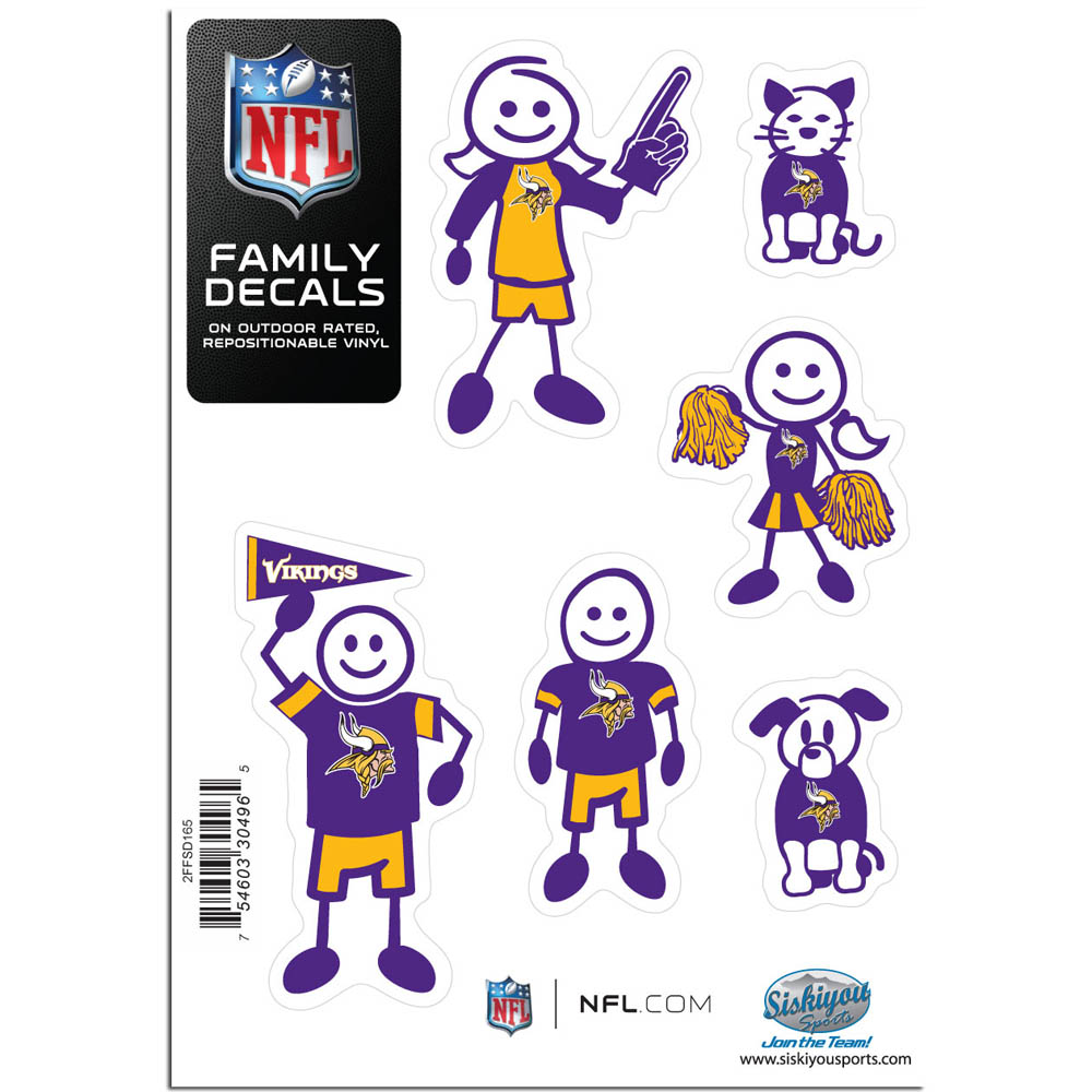 Minnesota Vikings Family Decal Set Small - Show off your team pride with our Minnesota Vikings family automotive decals. The set includes 6 individual family themed decals that each feature the team logo. The 5 x 7 inch decal set is made of outdoor rated, repositionable vinyl for durability and easy application.