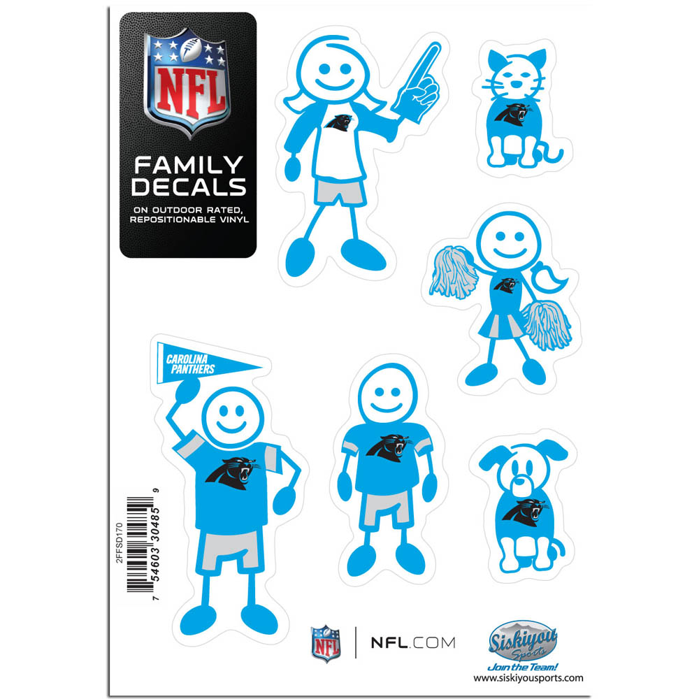 Carolina Panthers Family Decal Set Small - Show off your team pride with our Carolina Panthers family automotive decals. The set includes 6 individual family themed decals that each feature the team logo. The 5 x 7 inch decal set is made of outdoor rated, repositionable vinyl for durability and easy application.