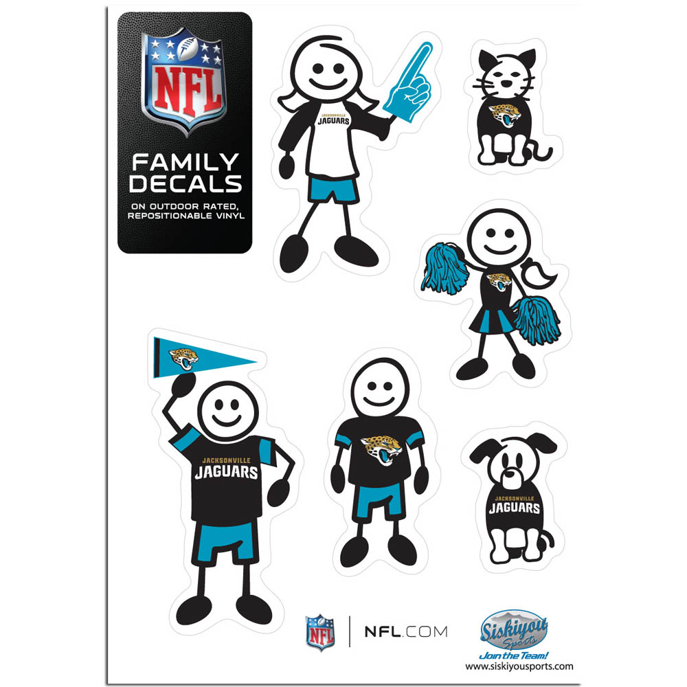 Jacksonville Jaguars Family Decal Set Small - Show off your team pride with our Jacksonville Jaguars family automotive decals. The set includes 6 individual family themed decals that each feature the team logo. The 5 x 7 inch decal set is made of outdoor rated, repositionable vinyl for durability and easy application.