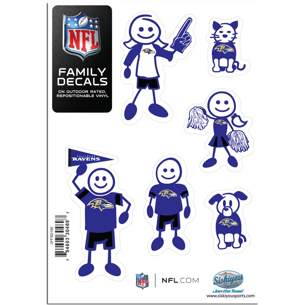 Baltimore Ravens Family Decal Set Small - Show off your team pride with our Baltimore Ravens family automotive decals. The set includes 6 individual family themed decals that each feature the team logo. The 5 x 7 inch decal set is made of outdoor rated, repositionable vinyl for durability and easy application.