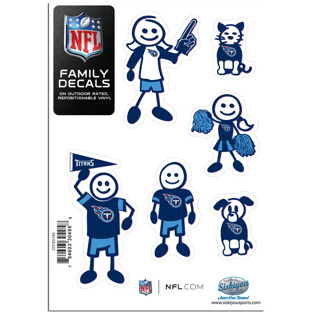 Tennessee Titans Family Decal Set Small - Show off your team pride with our Tennessee Titans family automotive decals. The set includes 6 individual family themed decals that each feature the team logo. The 5 x 7 inch decal set is made of outdoor rated, repositionable vinyl for durability and easy application.