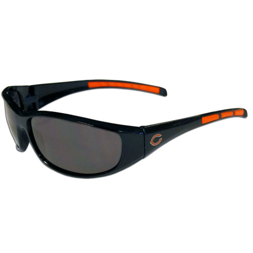 Chicago Bears Wrap Sunglasses - These sporty looking Chicago Bears wrap sunglasses have the Chicago Bears logo screen printed on both sides of the frames. Both sunglass arms feature rubber Chicago Bears colored accents. Look great in our Chicago Bears sports memorabilia while rooting for your favorite sports team. Officially licensed NFL product Licensee: Siskiyou Buckle .com
