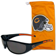 Chicago Bears Wrap Sunglass and Microfiber Bag Set - Get our most popular Chicago Bears wrap sunglasses with a matching Chicago Bears microfiber bag carrying case. The Chicago Bears Wrap sunglasses are durable and fashionable with the maximum UVA/UBVB protection. The stylish Chicago Bears eye bag is made of microfiber so it can also be used as a cleaning cloth. Officially licensed NFL product Licensee: Siskiyou Buckle .com