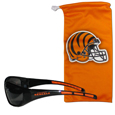 Cincinnati Bengals Wrap Sunglass and Microfiber Bag Set - Get our most popular Cincinnati Bengals sunglasses with a matching Cincinnati Bengals microfiber bag carrying case. The Cincinnati Bengals wrap sunglasses are durable and fashionable with the maximum UVA/UBVB protection. The stylish Cincinnati Bengals eye bag is made of microfiber so it can also be used as a cleaning cloth. Officially licensed NFL product Licensee: Siskiyou Buckle .com