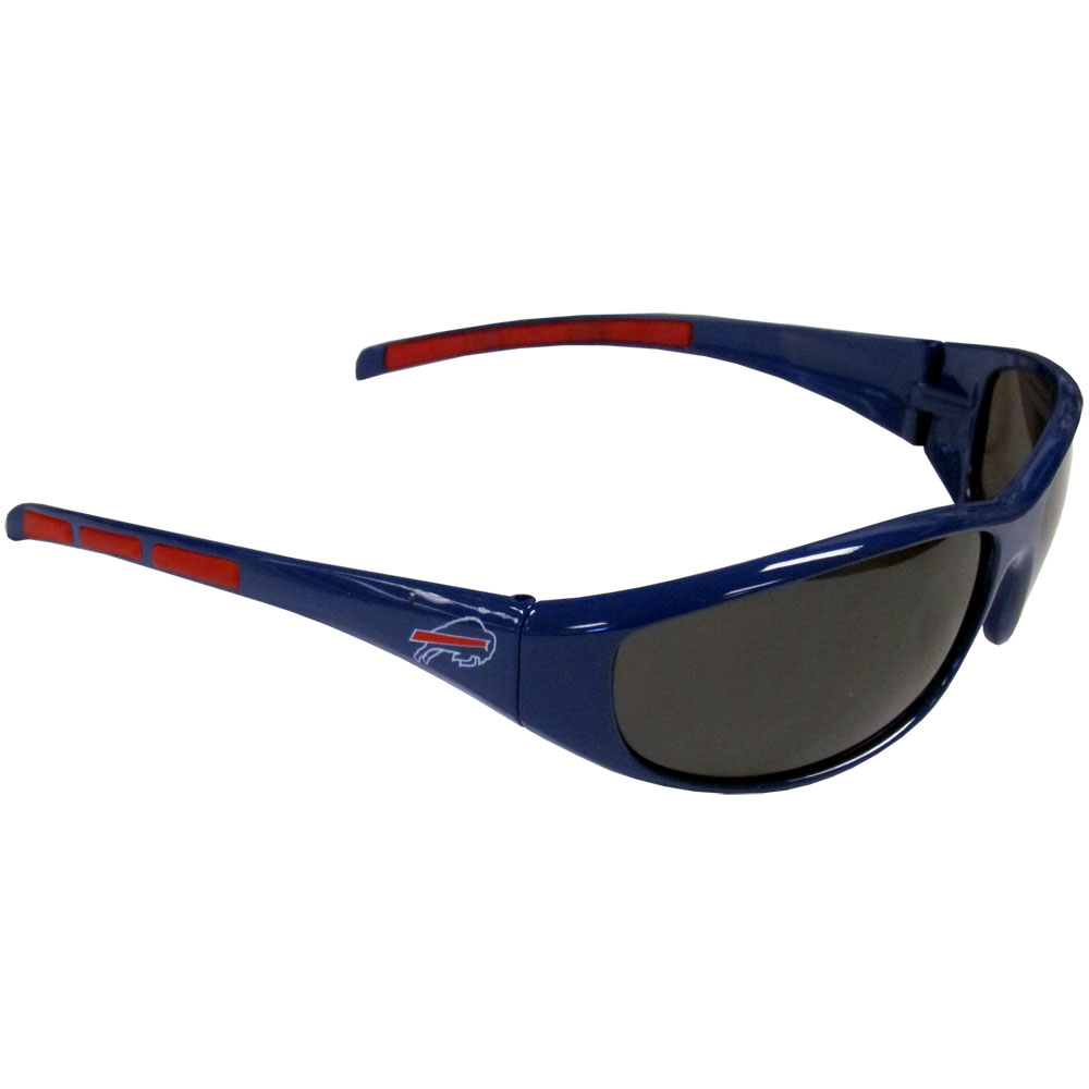 Buffalo Bills Wrap Sunglasses - These sporty looking Buffalo Bills Wrap Sunglasses have the Buffalo Bills logo screen printed on both sides of the frames. The wrap sunglass arms feature rubber Buffalo Bills colored accents. Look great in our Buffalo Bills sports memorabilia while rooting for your favorite sports team. Officially licensed NFL product Licensee: Siskiyou Buckle .com