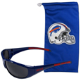 Buffalo Bills Sunglass and Bag Set - Get our most popular Buffalo Bills sunglasses with a matching microfiber bag carrying case. The wrap sunglasses are durable and fashionable with the maximum UVA/UBVB protection. The stylish bag is made of microfiber so it can also be used as a cleaning cloth. Officially licensed NFL product Licensee: Siskiyou Buckle .com