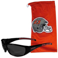 Tampa Bay Buccaneers Sunglass and Bag Set - Get our most popular Tampa Bay Buccaneers sunglasses with a matching microfiber bag carrying case. The wrap sunglasses are durable and fashionable with the maximum UVA/UBVB protection. The stylish bag is made of microfiber so it can also be used as a cleaning cloth. Officially licensed NFL product Licensee: Siskiyou Buckle .com