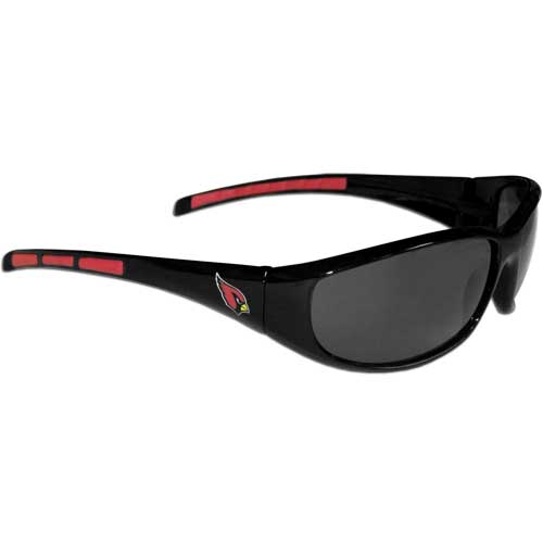 Arizona Cardinals Wrap Sunglasses - These sporty looking Arizona Cardinals Wrap Sunglasses have the Arizona Cardinals logo screen printed on both sides of the frames. The wrap sunglass arms feature rubber Arizona Cardinals colored accents. Look great in our Arizona Cardinals sports memorabilia while rooting for your favorite sports team. Officially licensed NFL product Licensee: Siskiyou Buckle Thank you for visiting CrazedOutSports.com