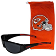 Kansas City Chiefs Sunglass and Bag Set - Get our most popular Kansas City Chiefs sunglasses with a matching microfiber bag carrying case. The wrap sunglasses are durable and fashionable with the maximum UVA/UBVB protection. The stylish bag is made of microfiber so it can also be used as a cleaning cloth. Officially licensed NFL product Licensee: Siskiyou Buckle Thank you for visiting CrazedOutSports.com