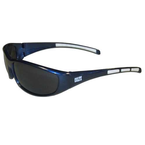 Indianapolis Colts Wrap Sunglasses - These sporty looking Indianapolis Colts Wrap Sunglasses have the Indianapolis Colts logo screen printed on both sides of the frames. The wrap sunglass arms feature rubber Indianapolis Colts colored accents. Look great in our Indianapolis Colts Wrap Sunglasses sports memorabilia while rooting for your favorite sports team. Officially licensed NFL product Licensee: Siskiyou Buckle Thank you for visiting CrazedOutSports.com