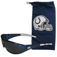 Indianapolis Colts Sunglass and Bag Set - Get our most popular Indianapolis Colts sunglasses with a matching microfiber bag carrying case. The wrap sunglasses are durable and fashionable with the maximum UVA/UBVB protection. The stylish bag is made of microfiber so it can also be used as a cleaning cloth. Officially licensed NFL product Licensee: Siskiyou Buckle Thank you for visiting CrazedOutSports.com