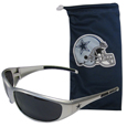 Dallas Cowboys Sunglass and Bag Set - Get our most popular Dallas Cowboys sunglasses with a matching microfiber bag carrying case. The wrap sunglasses are durable and fashionable with the maximum UVA/UBVB protection. The stylish bag is made of microfiber so it can also be used as a cleaning cloth. Officially licensed NFL product Licensee: Siskiyou Buckle .com