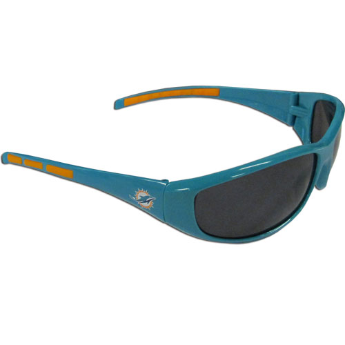 Miami Dolphins Wrap Sunglasses - These sporty looking Miami Dolphins Wrap Sunglasses have the Miami Dolphins logo screen printed on both sides of the frames. The wrap sunglass arms feature rubber Miami Dolphins colored accents. Look great in our Miami Dolphins sports memorabilia while rooting for your favorite sports team. Officially licensed NFL product Licensee: Siskiyou Buckle .com