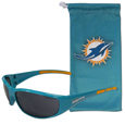 Miami Dolphins Sunglass and Bag Set - Get our most popular Miami Dolphins sunglasses with a matching microfiber bag carrying case. The wrap sunglasses are durable and fashionable with the maximum UVA/UBVB protection. The stylish bag is made of microfiber so it can also be used as a cleaning cloth. Officially licensed NFL product Licensee: Siskiyou Buckle .com