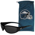 Philadelphia Eagles Sunglass and Bag Set - Get our most popular Philadelphia Eagles sunglasses with a matching microfiber bag carrying case. The wrap sunglasses are durable and fashionable with the maximum UVA/UBVB protection. The stylish bag is made of microfiber so it can also be used as a cleaning cloth. Officially licensed NFL product Licensee: Siskiyou Buckle .com