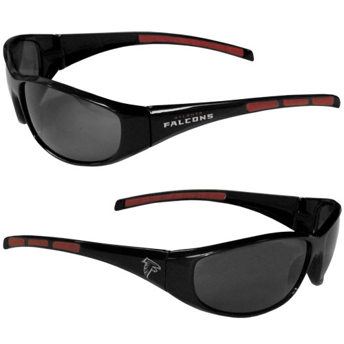 Atlanta Falcons Wrap Sunglasses - These sporty looking Atlanta Falcons Wrap Sunglasses have the Atlanta Falcons logo screen printed on both sides of the frames. The wrap sunglass arms feature rubber Atlanta Falcons colored accents. Look great in our Atlanta Falcons sports memorabilia while rooting for your favorite sports team. Officially licensed NFL product Licensee: Siskiyou Buckle .com