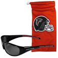 Atlanta Falcons Sunglass and Bag Set - Get our most popular Atlanta Falcons sunglasses with a matching microfiber bag carrying case. The wrap sunglasses are durable and fashionable with the maximum UVA/UBVB protection. The stylish bag is made of microfiber so it can also be used as a cleaning cloth. Officially licensed NFL product Licensee: Siskiyou Buckle .com