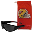 San Francisco 49ers Sunglass and Bag Set - Get our most popular San Francisco 49ers sunglasses with a matching microfiber bag carrying case. The wrap sunglasses are durable and fashionable with the maximum UVA/UBVB protection. The stylish bag is made of microfiber so it can also be used as a cleaning cloth. Officially licensed NFL product Licensee: Siskiyou Buckle Thank you for visiting CrazedOutSports.com