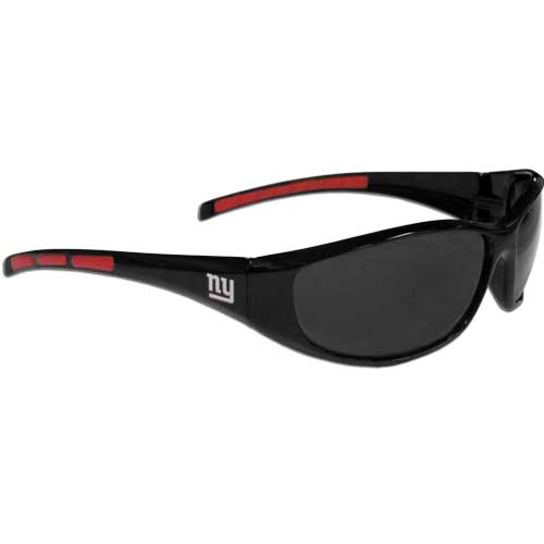 New York Giants Wrap Sunglasses - These sporty looking New York Giants Wrap Sunglasses have the New York Giants logo screen printed on both sides of the frames. The wrap sunglass arms feature rubber New York Giants colored accents. Look great in our New York Giants sports memorabilia while rooting for your favorite sports team. Officially licensed NFL product Licensee: Siskiyou Buckle .com