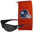New York Giants Sunglass and Bag Set - Get our most popular New York Giants sunglasses with a matching microfiber bag carrying case. The wrap sunglasses are durable and fashionable with the maximum UVA/UBVB protection. The stylish bag is made of microfiber so it can also be used as a cleaning cloth. Officially licensed NFL product Licensee: Siskiyou Buckle .com
