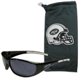New York Jets Sunglass and Bag Set - Get our most popular New York Jets sunglasses with a matching microfiber bag carrying case. The wrap sunglasses are durable and fashionable with the maximum UVA/UBVB protection. The stylish bag is made of microfiber so it can also be used as a cleaning cloth. Officially licensed NFL product Licensee: Siskiyou Buckle .com