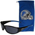 Detroit Lions Sunglass and Bag Set - Get our most popular Detroit Lions sunglasses with a matching microfiber bag carrying case. The wrap sunglasses are durable and fashionable with the maximum UVA/UBVB protection. The stylish bag is made of microfiber so it can also be used as a cleaning cloth. Officially licensed NFL product Licensee: Siskiyou Buckle .com