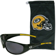 Green Bay Packers Sunglass and Bag Set - Get our most popular Green Bay Packers sunglasses with a matching microfiber bag carrying case. The wrap sunglasses are durable and fashionable with the maximum UVA/UBVB protection. The stylish bag is made of microfiber so it can also be used as a cleaning cloth. Officially licensed NFL product Licensee: Siskiyou Buckle .com