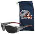 New England Patriots Sunglass and Bag Set - Get our most popular New England Patriots sunglasses with a matching microfiber bag carrying case. The wrap sunglasses are durable and fashionable with the maximum UVA/UBVB protection. The stylish bag is made of microfiber so it can also be used as a cleaning cloth. Officially licensed NFL product Licensee: Siskiyou Buckle .com