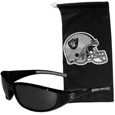 Oakland Raiders Sunglass and Bag Set - Get our most popular Oakland Raiders sunglasses with a matching microfiber bag carrying case. The wrap sunglasses are durable and fashionable with the maximum UVA/UBVB protection. The stylish bag is made of microfiber so it can also be used as a cleaning cloth. Officially licensed NFL product Licensee: Siskiyou Buckle Thank you for visiting CrazedOutSports.com