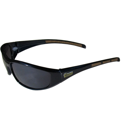 Los Angeles Rams Wrap Sunglasses - These sporty looking Los Angeles Rams Wrap Sunglasses have the Los Angeles Rams logo screen printed on both sides of the frames. The wrap sunglass arms feature rubber Los Angeles Rams colored accents. Look great in our Los Angeles Rams sports memorabilia while rooting for your favorite sports team. Officially licensed NFL product Licensee: Siskiyou Buckle .com