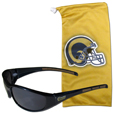 St. Louis Rams Sunglass and Bag Set - Get our most popular St. Louis Rams sunglasses with a matching microfiber bag carrying case. The wrap sunglasses are durable and fashionable with the maximum UVA/UBVB protection. The stylish bag is made of microfiber so it can also be used as a cleaning cloth. Officially licensed NFL product Licensee: Siskiyou Buckle .com