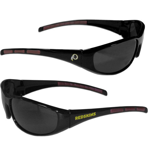 Washington Redskins Wrap Sunglasses - These sporty looking Washington Redskins Sunglasses have the Washington Redskins logo screen printed on both sides of the frames. The wrap sunglass arms feature rubber Washington Redskins colored accents. Look great in our Washington Redskins sports memorabilia while rooting for your favorite sports team. Officially licensed NFL product Licensee: Siskiyou Buckle Thank you for visiting CrazedOutSports.com
