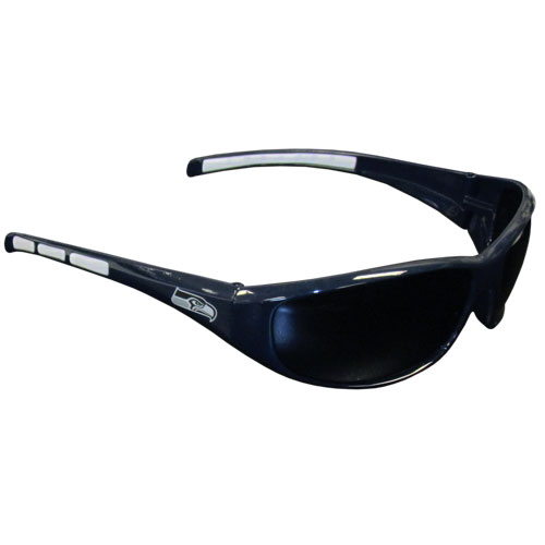 Seattle Seahawks Wrap Sunglasses - These sporty looking Seattle Seahawks Wrap Sunglasses have the Seattle Seahawks logo screen printed on both sides of the frames. The wrap sunglass arms feature rubber Seattle Seahawks colored accents. Look great in our Seattle Seahawks sports memorabilia while rooting for your favorite sports team. Officially licensed NFL product Licensee: Siskiyou Buckle .com