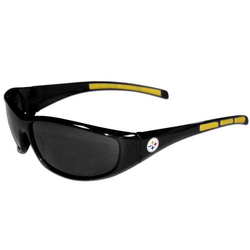 Pittsburgh Steelers Wrap Sunglasses - These sporty looking Pittsburgh Steelers Wrap Sunglasses have the Pittsburgh Steelers logo screen printed on both sides of the frames. The wrap sunglass arms feature rubber Pittsburgh Steelers colored accents. Look great in our Pittsburgh Steelers sports memorabilia while rooting for your favorite sports team. Officially licensed NFL product Licensee: Siskiyou Buckle .com