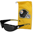 Pittsburgh Steelers Sunglass and Bag Set - Get our most popular Pittsburgh Steelers sunglasses with a matching microfiber bag carrying case. The wrap sunglasses are durable and fashionable with the maximum UVA/UBVB protection. The stylish bag is made of microfiber so it can also be used as a cleaning cloth. Officially licensed NFL product Licensee: Siskiyou Buckle .com